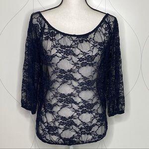 NWT Joyce Leslie lace top navy size medium
